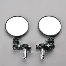 "Motorcycle CNC Aluminum 3"" Round 7/8"" Handle Bar End Foldable Side Mirrors Black"