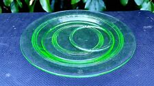 """Anchor Hocking Ring Banded Rings 6 1/2"""" green off center indent plates"""