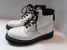 Dr Doc Martins Women's white leather ankle boots size 7M