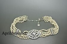 Vintage art deco revival Monet multistrand faux pearl flower pendant Necklace