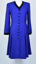 VINTAGE 70s cobalt blue wool dress with black velvet trims and buttons size 16