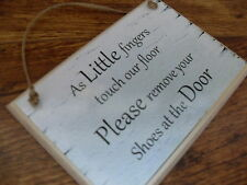 Please remove your shoes, take your shoes off wooden new home plaque sign