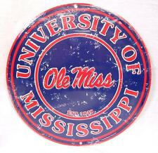 "12"" ROUND METAL SIGN OLE MISS UNIVERSITY OF MISSISSIPPI DISTRESSED LOOK MAN CAVE"