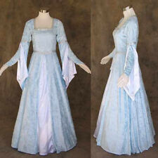 Sky Blue Crushed Velvet Medieval Renaissance Gown Wedding Cosplay Costume LOTR S