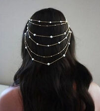 Women Silver color Metal Bohemian Wedding Bride party Hair Head Cuff Comb Chain