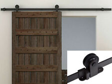 6FT Dark Coffee Wood Sliding Door Hardware Track Set Modern European Style Barn
