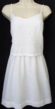 """ANN TAYLOR LOFT"" WHITE EYELET CAREER CASUAL TWO IN ONE DRESS SIZE: 8P NWT $80"