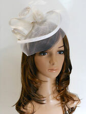 New Derby Cocktail Wedding Sinamay Fascinator Hat w Headband 9008 Off White