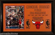 Framed Michael Jordan UD embossed Auto 8x10 Last shot as a BULL a Basketball Mat