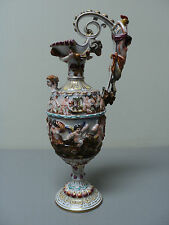 FABULOUS 19th C. CAPO-DI-MONTE PORCELAIN HAND ENAMELED & GILT DECORATED EWER