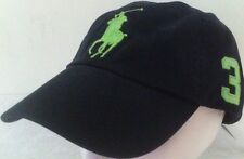 Polo Ralph Lauren Hat Baseball Cap~Black Lg Lime Green Logo~Leather Strap~NWT