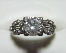 Engagement / Wedding Ring  Platinum & Diamond Approx 1ct round Vintage Size 5