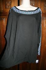 Ava & Viv boho embroidered tunic top 1X black open shoulder NEW NWT