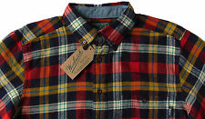 Men's WOOLRICH Navy Red Colors Plaid Flannel Cotton Shirt M Medium NWT NEW