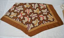 """Christian Dior Scarf 35"""" XL Silk Fall Leaves Gold Bronze Red Purple Echarpes"""