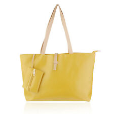 Women's Large Elegant Yellow Tote Shoulder Bag Handbag Purse Organizer