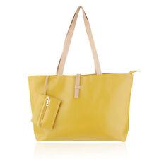 Women's Large Elegant Yellow Tote Shoulder Bag Handbag Purse Organizer