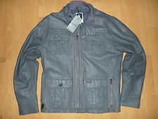 Men's G-Star Raw Dryden Leather Jacket Grey Size XXL XL