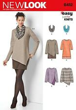 NEW LOOK SEWING PATTERN MISSSES' EASY JUST FOR KNITS SIZE 8 - 20 6412