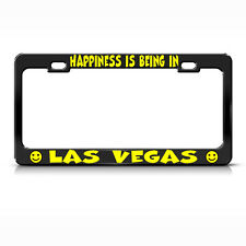 HAPPINESS IS BEING IN LAS VEGAS Black License Plate Frame Tag Border