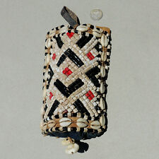 an old antique beaded belt pendant ornament with cowrie shells kuba congo #38