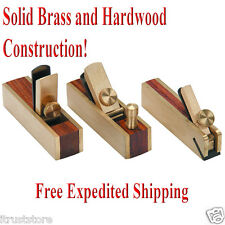 "Mini Brass Bullnose Scraper Block Plane Wood Working Craft Planar 3"" Tool Set"