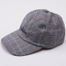 NWT $495 BRIONI Gray Check Wool-Cashmere Logo Baseball Hat Cap Leather Strap