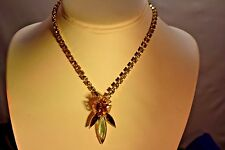 VINTAGE HIGHEND GOLD CABOCHON AMBER&AQUA NAVETTE YELLOW RHINESTONE NECKLACE  905