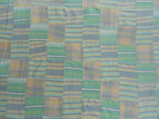 "Flannel Fabric Pieced Quilt Top 4"" Sqr Patchwork Pastel Stripe Teal Pink Madras"