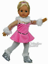 For American Girl Dolls; Pink Velour Feather Trim Ice Skate Outfit Doll Clothes