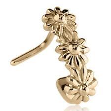 Zircon Gold PVD Surgical Steel L Bend Nose Stud Ring Flower Nose Hugger 20G