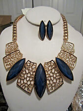 Navy Blue Eye Shape Faceted Lucite Bead Gold Tone Base Chunky Necklace Earring