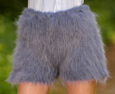GRAY Hand Knitted Mohair Pants Fuzzy Underwear Furry Shorts by SUPERTANYA