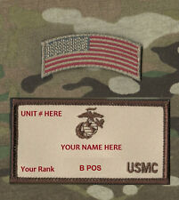 MARSOC SPECIAL WARFARE USMC ID TAPE: Your Name/Rank/Unit B POS+ + US FLAG TAB