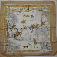 """Auth HERMES """"L'Hiver"""" by Philippe Ledoux Beige Silk Scarf 1323"""