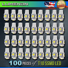 100 x T10 Wedge 5-SMD 6000k White 5050 LED Light bulbs 2825 158 192 168 194 6k