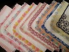 Lot of 10 Vintage fancy tatted Lace linen hankies, Stunning.