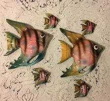 Vintage LEFTONS Lefton Fish Wall Plaque  Lot of 6 -  VERY RARE TO GET ALL SIX