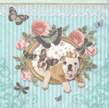 2 Serviettes en papier Chien Bouledogue - Paper Napkins Royal Dogs Bulldog