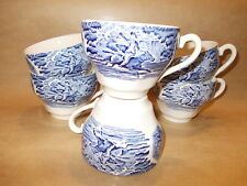 6 X ceramic made in England - Myott or Johnson Brothers cups - blue white