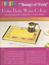 VINTAGE AD SHEET #1956 - HOSTESS ELECTRIC WARM-O-TRAYS - BOUNTY OF FRUITS - GOLD