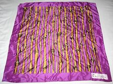 Charles of the Ritz Perfume Purple Bamboo Silk Satin Large Square Neck Scarf old