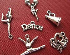 Cheerleader Dance Silver Charm Pendant Jewelry CHEER School Football Lot vintage