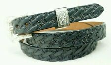 NEW HATBAND Western GRAY Basketweave with Silver Buckle Set Cowboy Hat Band