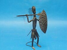 SEMI ANTIQUE WELL HAND CRAFTED IRON MASAI HUNTER SCULPTURE