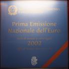 NL* ITALIA DIVISIONALE EURO ANNO 2002 8 VALORI FDC SET UFFICIALE ZECCA PERFETTO