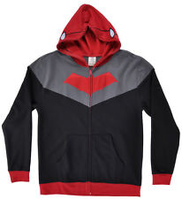 Red Hood Hoodie Mens DC Comics Sweater Mask Costume Zip Up Authentic Black XL