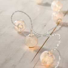 10 Silver Mesh Ball Battery Operated Warm White LED Indoor Fairy String Lights
