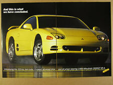 1994 Mitsubishi 3000GT VR-4 yellow car photo vintage print Ad