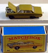 DTE LESNEY MATCHBOX REGULAR WHEELS 36-3 OPEL DIPLOMAT W/CHROME MOTOR E BOX NIOB